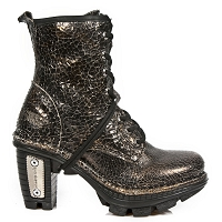 Golden Crackle Pattern Ankle Boots