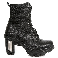 Black Leather Snake Pattern Ankle Booties
