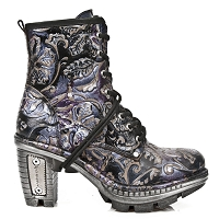 Purple Leather Floral Pattern Boots