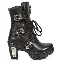 Black Leather Ankle Boots w Skulls