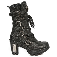 Black Leather Floral Pattern Boots