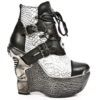 White & Black Leather Platform Wedge Heels  *May take up to 35 - 45 Days to Receive*
