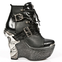 Black Leather Platform Wedge Heels *May take up to 35 - 45 Days to Receive*