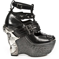 Black Leather Platform Wedge Heels