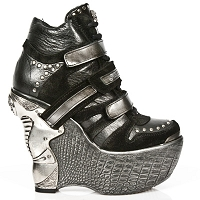 Black & Silver Leather Platform Wedge Heel Ankle Booties
