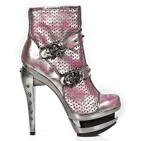 Pink Leather Heels w Spikes & Skulls