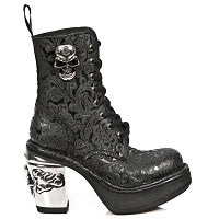 Black Leather w Paisley / Floral Pattern