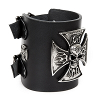 Black Leather, Wide Iron Cross Cuff