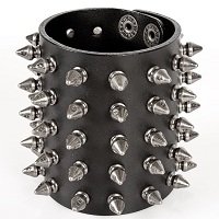 Wide Leather Spiked Bracelets *May take up to 35 - 45 Days to Receive*