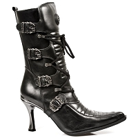 Black Leather Malica w Skull Buckles *May take up to 35 - 45 Days to Receive*