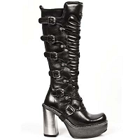 Knee High Sexy Leather Boots w Circle Heel *May take up to 35 - 45 Days to Receive*