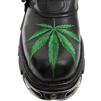 Black Leather w Green Pot Leaf