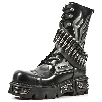 Black Leather Boots w Silver Flames & Bullets