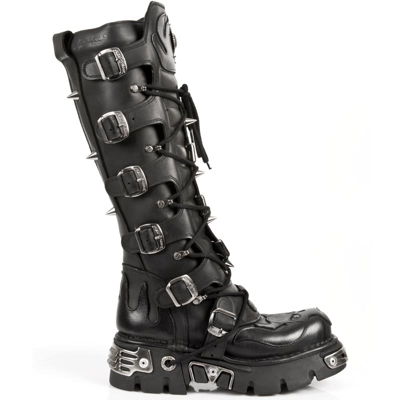 Tall Black Leather Goth Boots