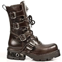 Brown Leather New Rock Boots w Classic Sole *May take up to 35 - 45 Days to Receive*