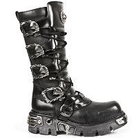 Knee High Black Leather w Skull Buckles *May take up to 35 - 45 Days to Receive*