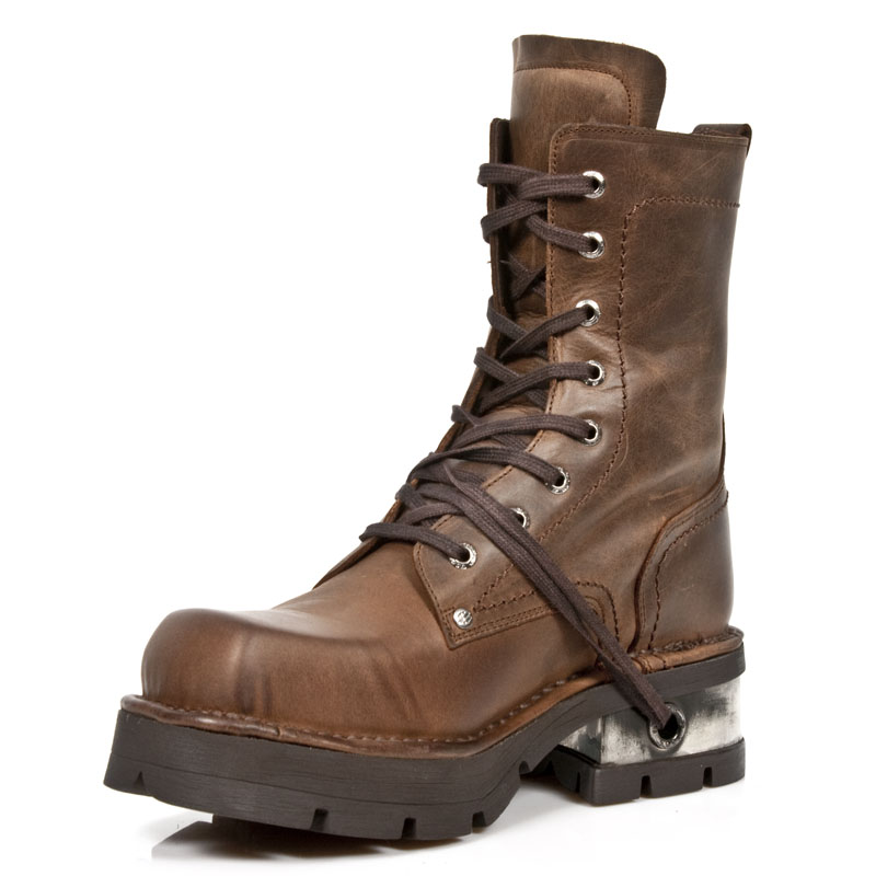 brown iron cross combat boots