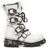 White Leather New Rock Boots w Paisley *May take up to 35 - 45 Days to Receive*
