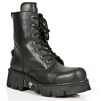 Unisex Black Leather Combat Boots w Heavy Sole