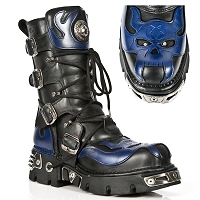 Leather Goth Boots Blue Skull in Flames *May take up to 35 - 45 Days Delivery*