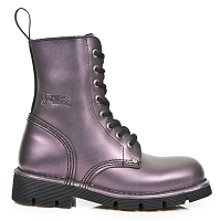 Light Purple Leather Military Boots