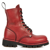 Bright Red Leather Military Boots