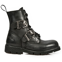 Black Leather Military Boots w Skull Flaming Skull Buckles  Mens US 9 & 11 ONLY