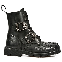 Black Leather Military Boots w Silver Flaming Skull *May take up to 35 - 45 Days to Receive*