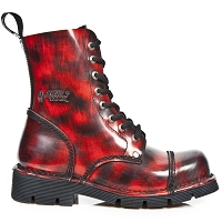 Red & Black Leather Military Boots