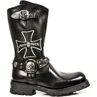 Black Leather Motorcycle Boots w Iron Cross *May take up to 45 - 50 Days to Receive*