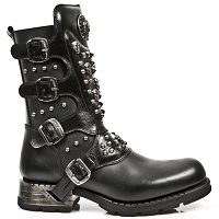 Black Leather Morotorcycle Boots w Skulls & Studs