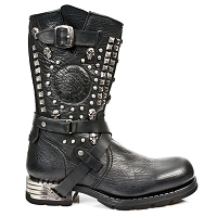 Black Leather Motorcycle Boots w Skulls & Studs *May take up to 45 - 50 Days to Receive*
