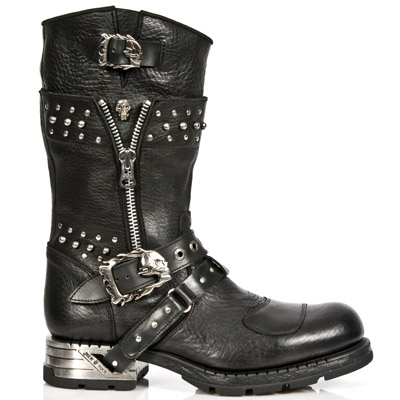 black buffalo leather motorcycle boots w skulls studs. Black Bedroom Furniture Sets. Home Design Ideas