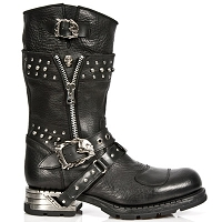 Black Buffalo Leather Motorcycle Boots w Skulls & Studs