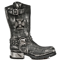 Vintage Rub Leather Motorcycle Boots w Iron Cross