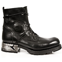 Black Leather Ankle MotoRock Boots w Bungee Laces *May take up to 45 - 50 Days to Receive*
