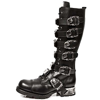 Quality Black Leather Knee High Boots w Skull Buckles *May take up to 45 - 50 Days to Receive*
