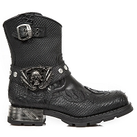 Python Pattern Leather Motorcycle Boots w Flames *May take up to 45 Days to Receive*