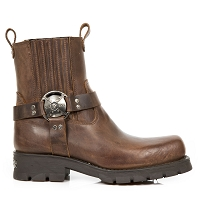 Brown Leather Motorcycle Ankle Boots
