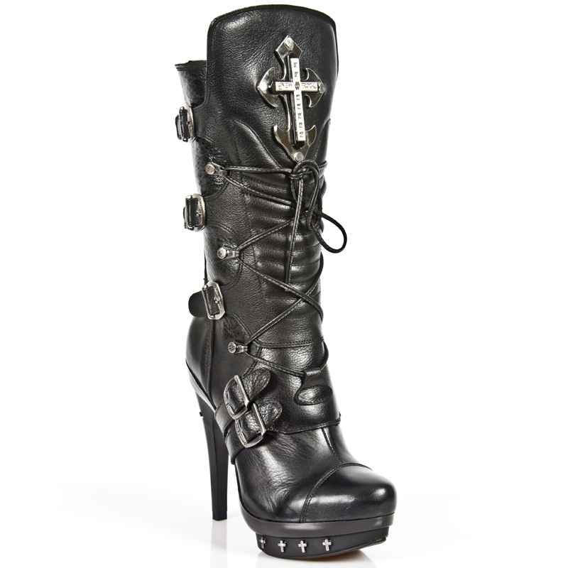 Black Leather Punk Boots Silver Goth Crosses