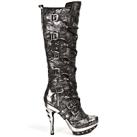 Quality Black & Silver Leather Punk Boots *May take up to 35 - 45 Days to Receive*