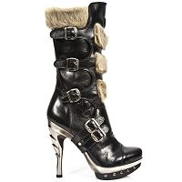 Black Leather Punk Boots w Beige Fur  *May take up to 35 - 45 Days to Receive*