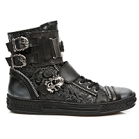 Black Leather Rocker Shoes w Paisley Pattern, Metal and Zipper Detail
