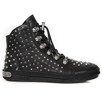 Black Silver Studded Urban Fashion Sneaker *May take up to 45 - 50 Days to Receive*