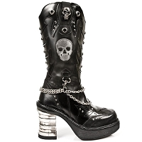 Black Leather Boots w Skulls & Platform Heel w Chains