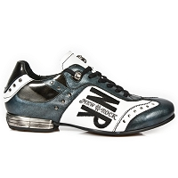 Black, White & Teal Leather Shoes *May take up to 45 - 50 Days to Receive*