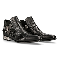 Black Vintage Floral VIP Leather Shoes