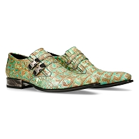 Beige & Green Alligator Pattern VIP Leather Shoes
