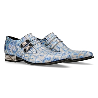 Beige & Sky Blue, Sky Pattern VIP Leather Shoes