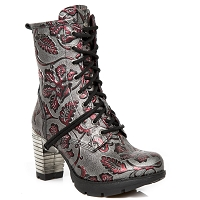 Vintage Floral Wine Leather Boots w 3
